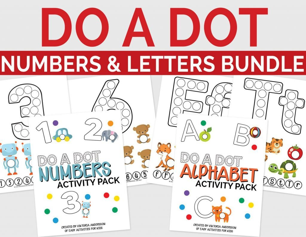 Dot Numbers and Letters Bundle Printable for Toddlers